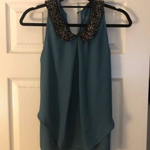 Holiday green blouse with beading embellishment